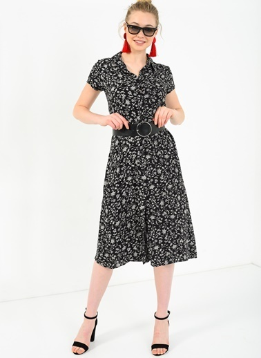 Kısa Kollu Minik Çiçekli Gömlek Elbise-Ola